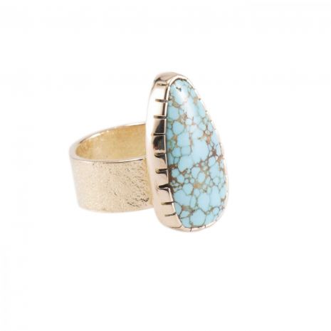 Carol Krena 18kt Yellow Gold with Number 8 Turquoise Ring