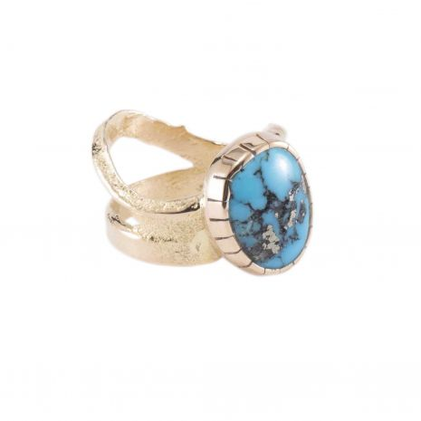 Carol Krena 18kt Yellow Gold with Morenci Turquoise Ring