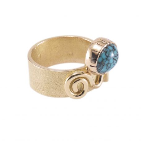 Carol Krena 18kt Yellow Gold with Lone Mountain Turquoise Ring