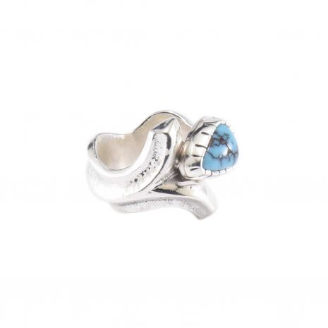 Carol Krena Sterling Silver with Morenci Turquoise Ring