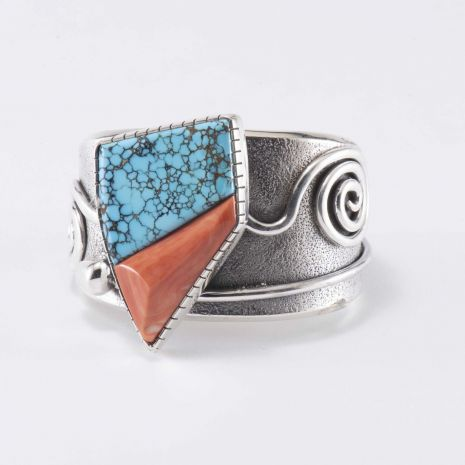 Carol Krena Sterling Silver Cuff with CG Wallace Number 8 Turquoise & Coral