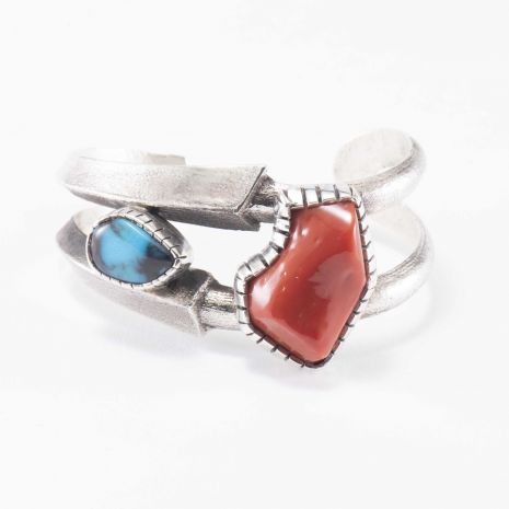 Carol Krena Sterling Silver Cuff with Bisbee Turquoise and Coral
