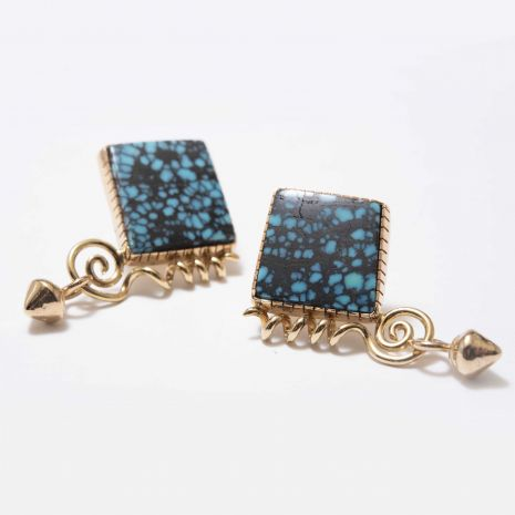 Carol Krena Red Mountain Turquoise Earrings in 18K Yellow Gold