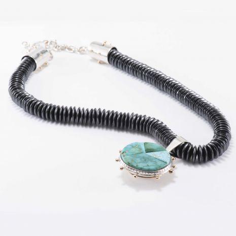 Carol Krena Hematite Bead Necklace Blue Gem Turquoise Reversible Pendant