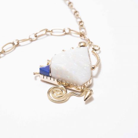 Carol Krena 18kt Yellow Gold Necklace with Opal and Lapis Pendant