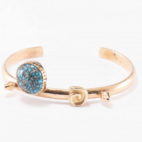 Carol Krena 18kt Yellow Gold with Landers Turquoise Cuff