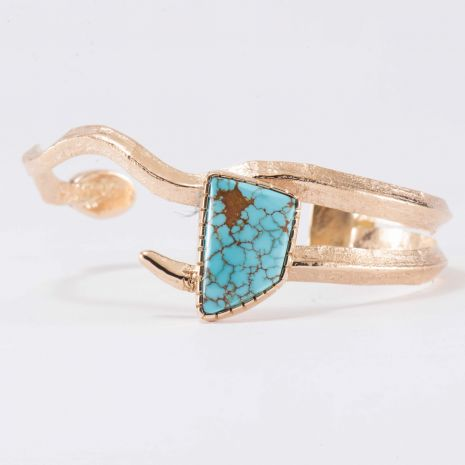 Carol Krena 18kt Yellow Gold with #8 Turquoise and Coral Cuff
