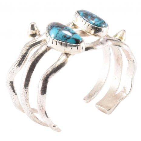 Carol Krena Sterling Silver with Bisbee Turquoise Cuff Set
