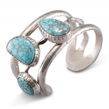 Carol Krena Sterling Silver with Number 8 Turquoise Cuff