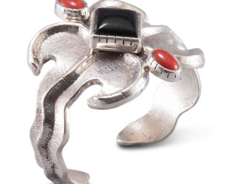 Carol Krena Sterling Silver Bracelet with Black Jade & Red Coral