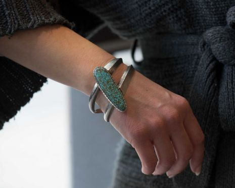 Carol Krena Sterling Silver Cuff with #8 Turquoise