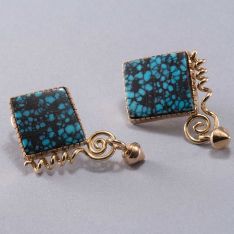 Carol Krena Mask Friendly Red Mountain Turquoise Earrings in 18K Yellow Gold