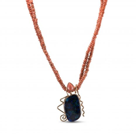 Carol Krena Double Strand Coral Necklace with Boulder Opal Pendant in 18Kt Yellow Gold