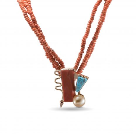 Carol Krena 3 Strand Coral Necklace with Coral, Turquoise and Pearl Pendant in 18kt Yellow Gold