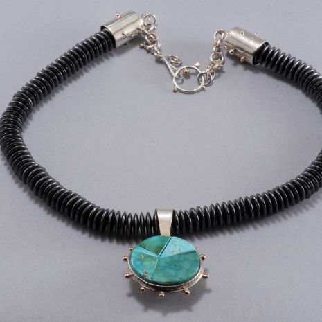 Carol Krena Hematite Bead Necklace Blue Gem Turquoise Reversible Pendant