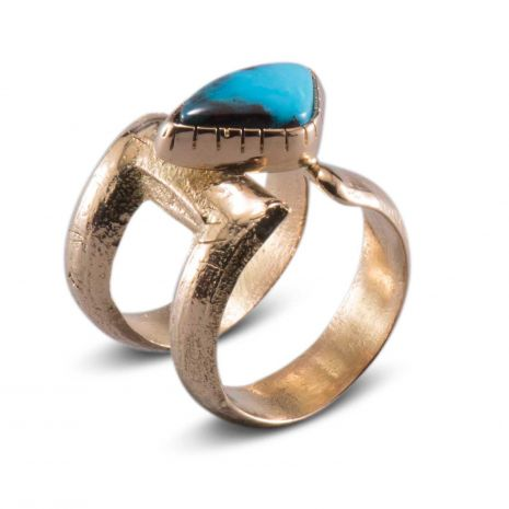 Carol Krena 18kt Yellow Gold with Bisbee Turquoise Ring