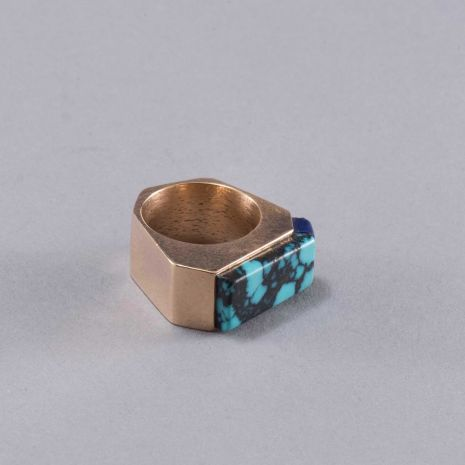 Carol Krena 18kt Yellow Gold with Chinese Turquoise and Lapis Ring