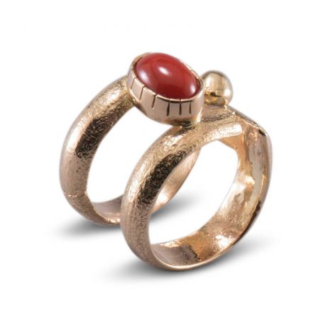 Carol Krena 18kt Yellow Gold with Coral Ring